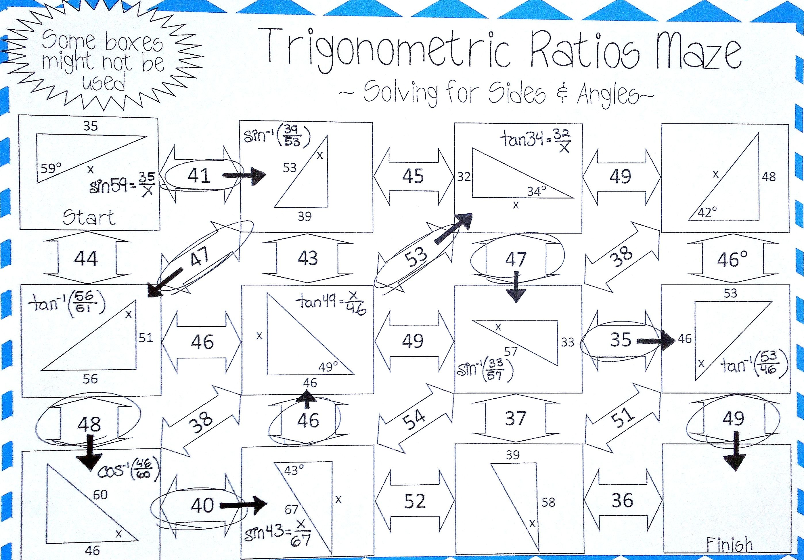 Trigonometric Ratios Sine Cosine Tangent Worksheet Maze Activity Mathematics Worksheets Trigonometry Worksheets Geometry Worksheets