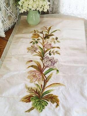 Fleishhacker Estate Antique French Silk Floral Hand Embroidered Panel | Vintageblessings