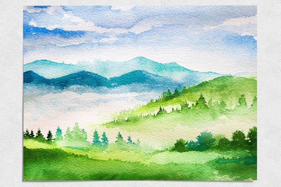 Spring Landscapes Watercolor Spring Landscape Watercolor Mountains Cool Landscapes
