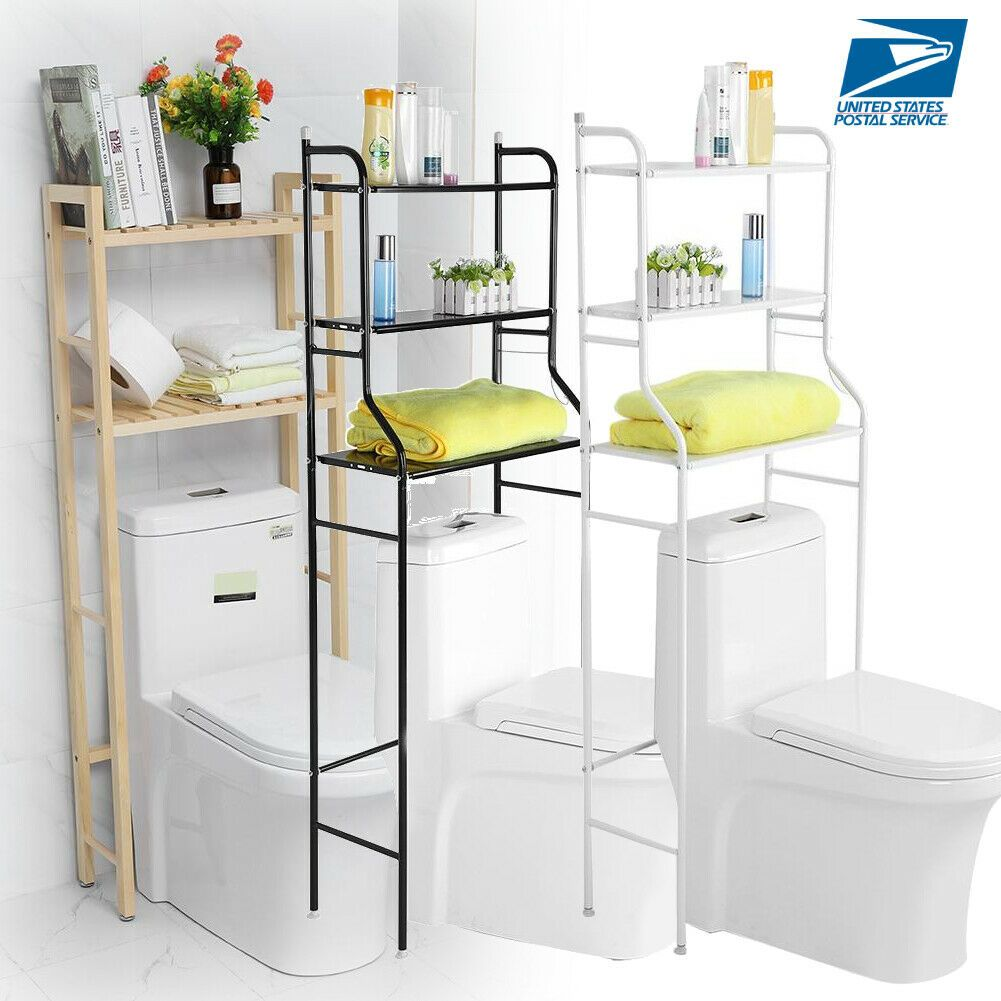 3 Shelf Over Toilet Bathroom Space Saver Towel Storage Rack Organizer Wood Iron Ebay In 2020 Bathroom Space Saver Toilet Storage Shelves Over Toilet
