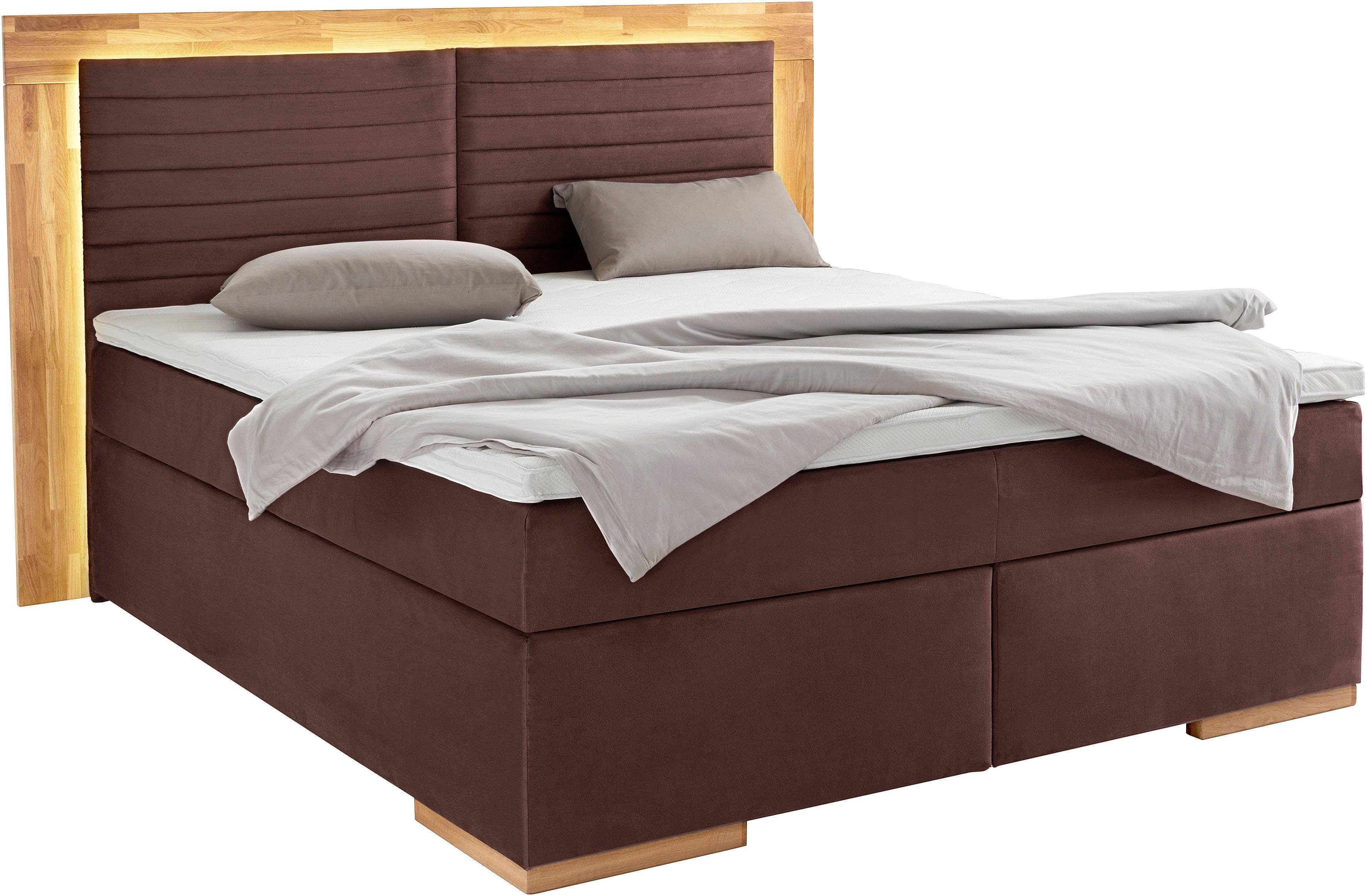 Places of Style Boxspringbett, 180×200 cm, H2, braun »Cup«, mit LED-Beleuchtung, mit Topper