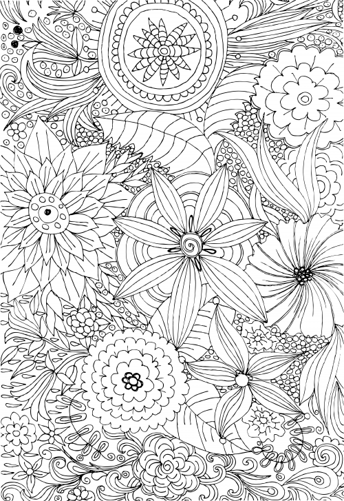 Coloring Pages Of Flowers For Free : Create guilt free relaxation time with these advanced flower