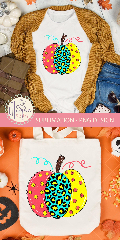 Leopard animal print, halloween pumpkin, sublimation