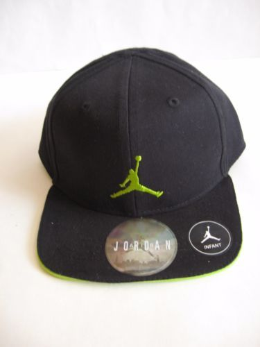 209cbe44ab5 New-NIKE-Jordan-Infant-Baseball-Hat-Cap-12-24M-Black-Green-Jumpman-Snap-Back