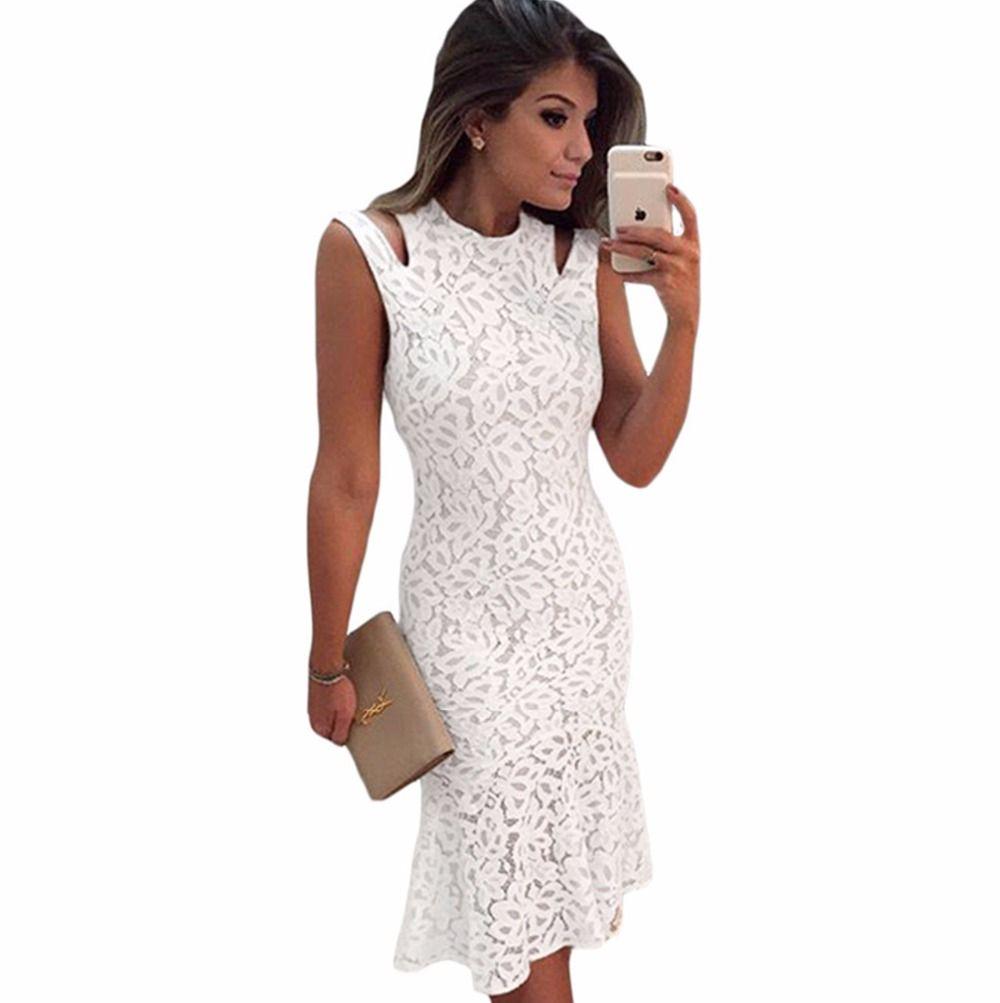 New fashion women vintage white lace bandage formal work elegant