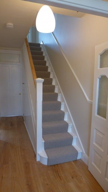 Plain Stair Carpet Runner With Engineered Oak Hall Floor. Stairs And  Spindles Stripped And Painted White; Handrail Stripped And Waxed