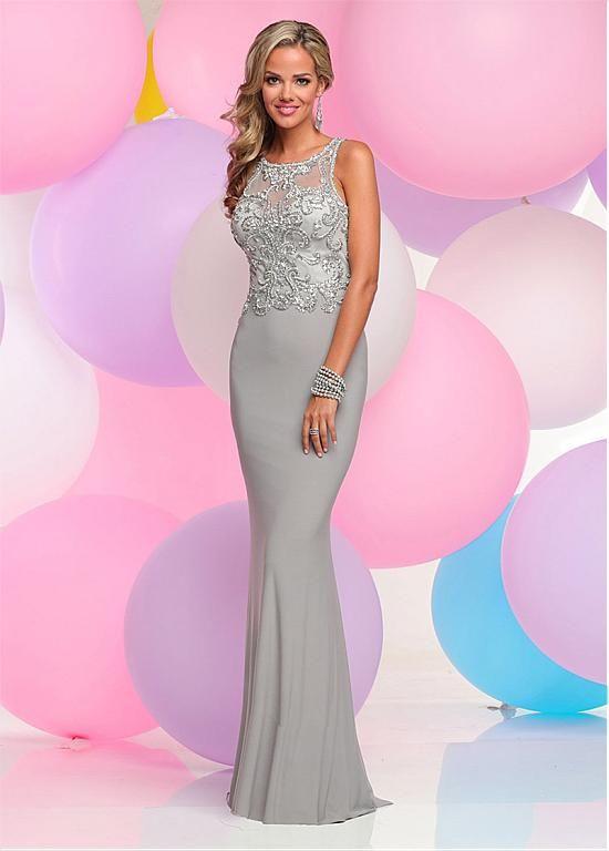 comprar Pretty gasa Jewel Neckline vaina formal vestidos con cuentas ...