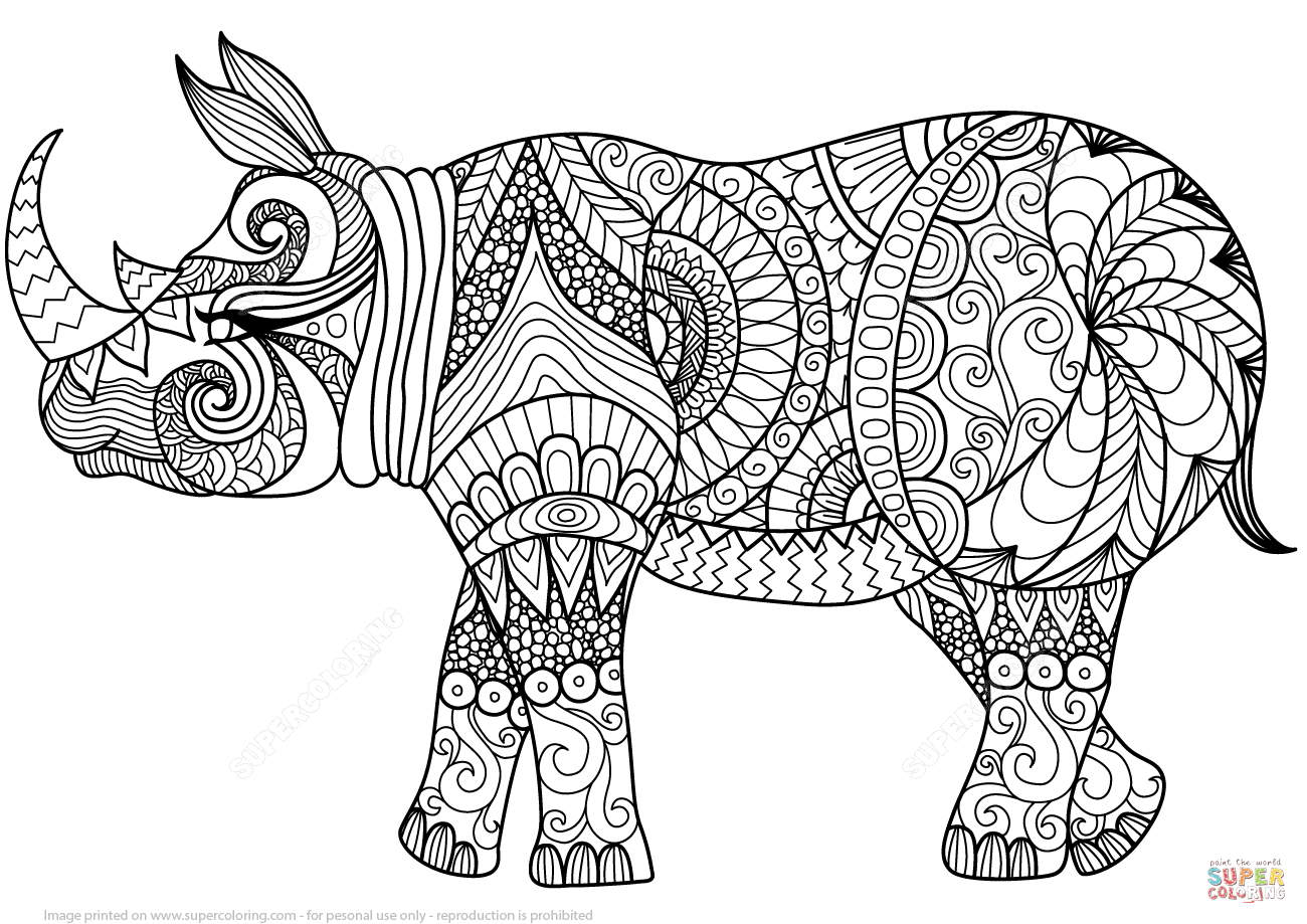 rhinoc ros en zentangle super coloring coloring pages animal coloring pages art free. Black Bedroom Furniture Sets. Home Design Ideas