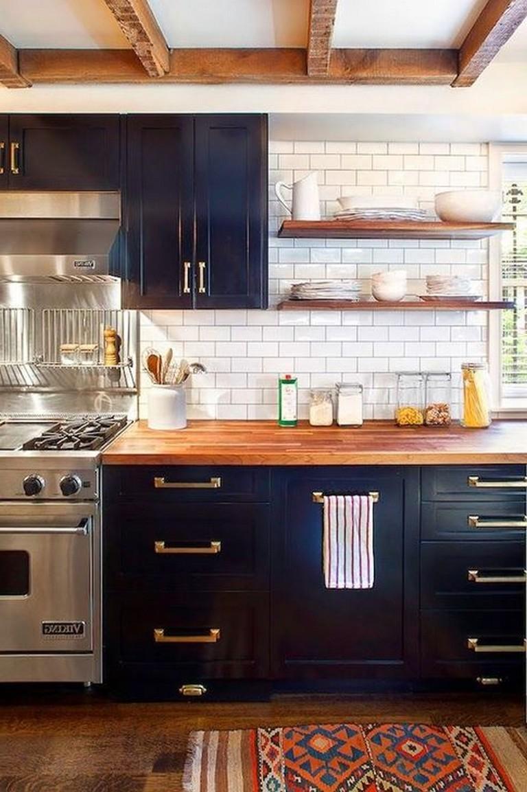 40 Beautiful Navy Kitchen Cabinets For Decorating Your Kitchen Black Kitchen Cabinets White Wood Kitchens Kitchen Cabinet Design