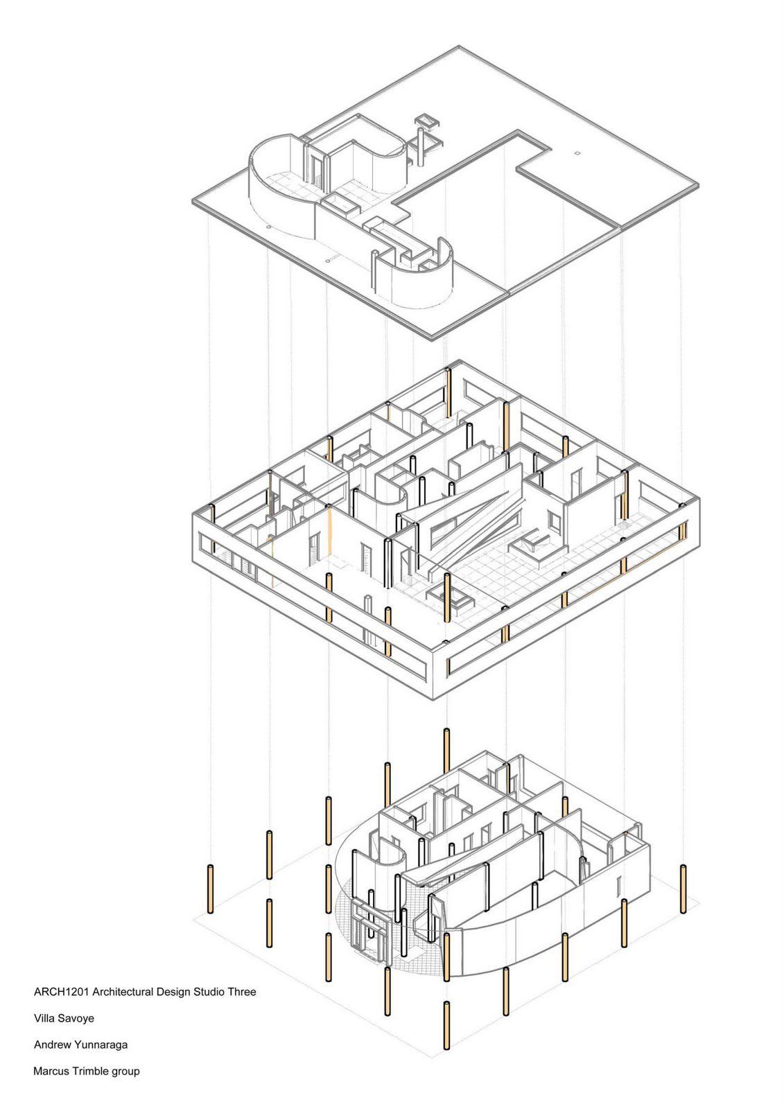 villa savoye structure 3d