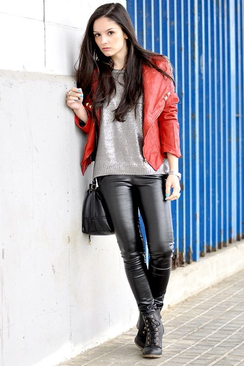 Girl in tight leather pants