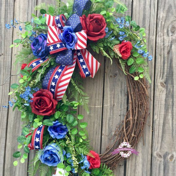 Red White Blue Patriotic Floral Grapevine Wreath 4th Of 4th Of July Wreath Americana Wreath Floral Grapevine