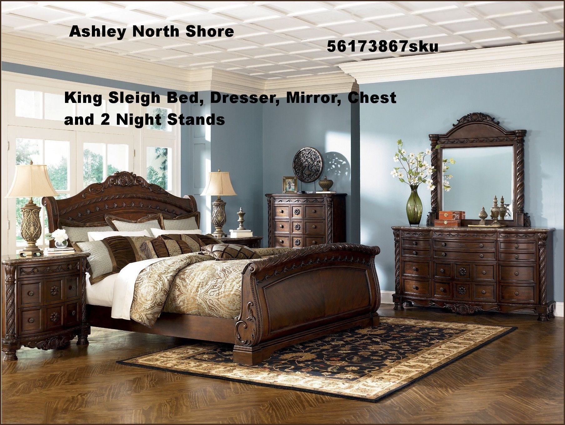 King Sleigh Bed Sets Different woods Sleigh bedroom set