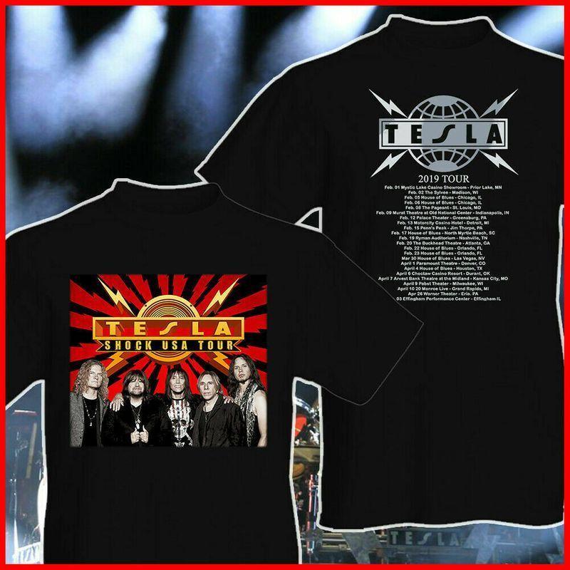 new tesla band shock tour 2019 t shirt size s 5xl men and women t shirt s 6xl tesla band shirts shirt size pinterest