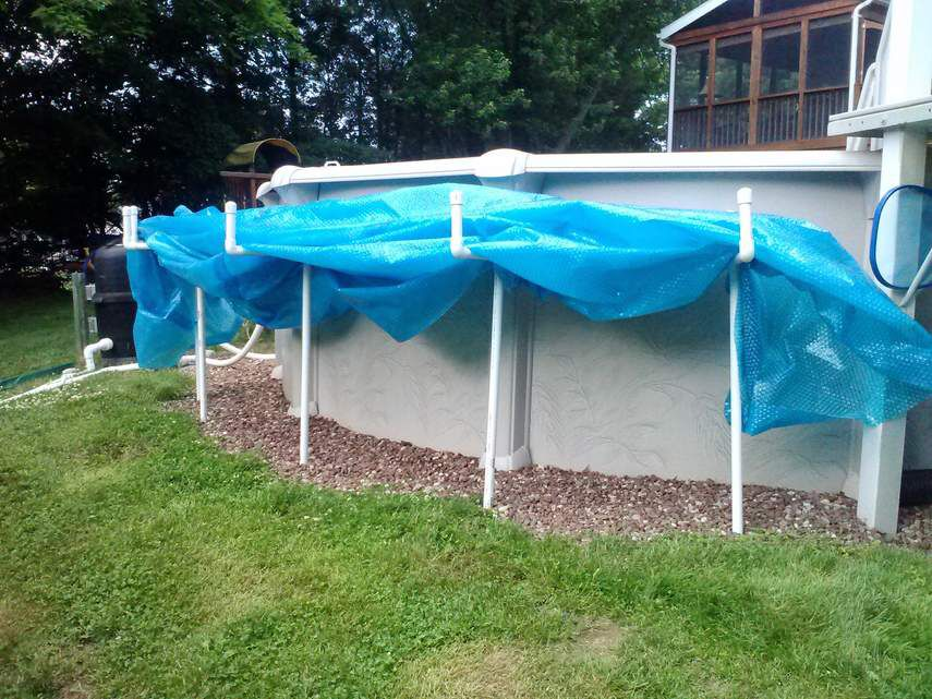 Diy solar cover holder rebar supports the goal posts