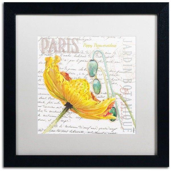 Trademark Fine Art Paris Botanique Yellow Poppy Black Framed Wall ...