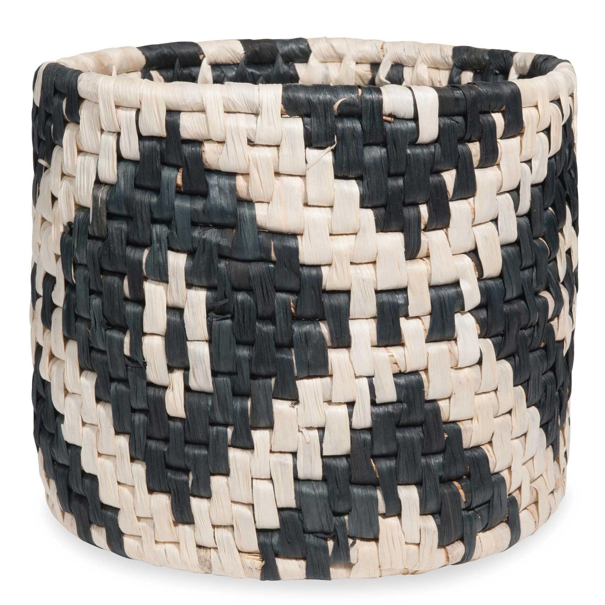 Cache-pot tressé en fibre végétale motifs noirs ESCALE