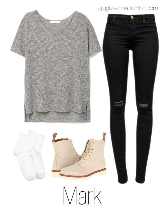 """""""Meeting in the City // Mark"""" by suga-infires ❤ liked on Polyvore featuring J Brand, MANGO, Hue and Dr. Martens"""