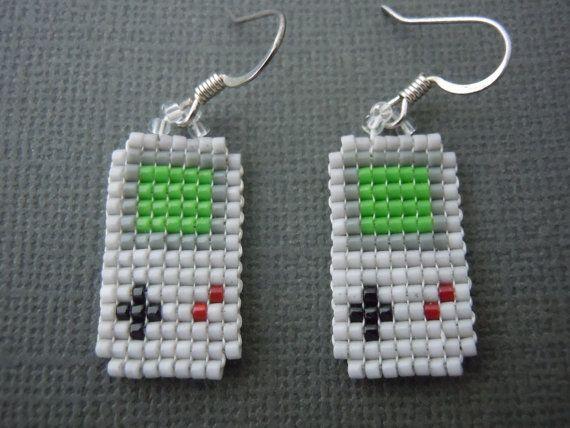 Gameboy Classic Earrings, Seed Bead, Video Game Jewelry, Nintendo, Handmade, Pixelated, Super Mario, 8 Bit, Gamer, Miniature Pixel Art