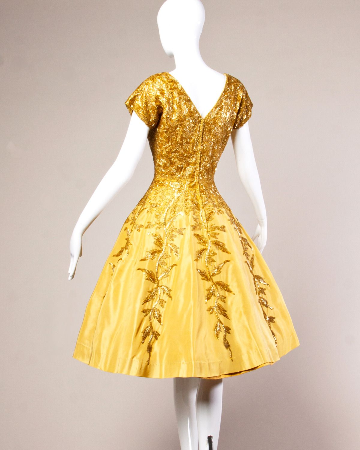 Vintage 1950s 50s Gold Yellow Hand Beaded Couture Silk