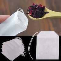 Wish | 100pcs Empty Teabags String Heat Seal Filter Paper Herb Loose Tea Bag 5.5 x 6cm