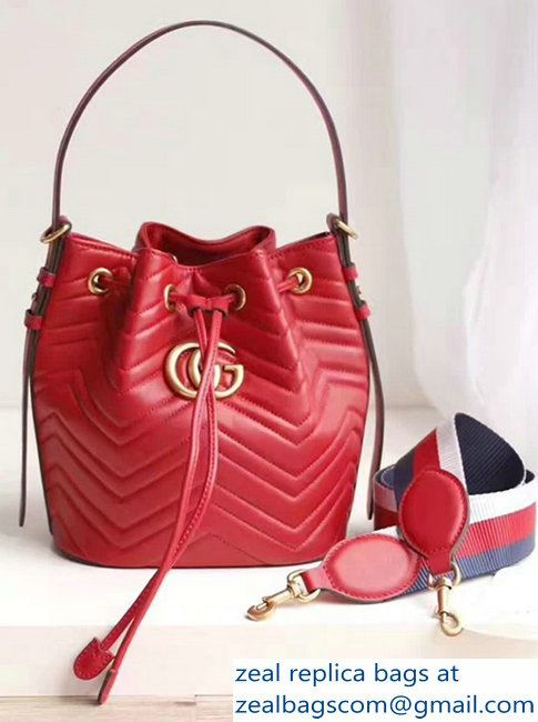 d3d15a5a1 Gucci GG Marmont Quilted Leather Bucket Bag With Sylvie Web Strap 476674 Red  2017