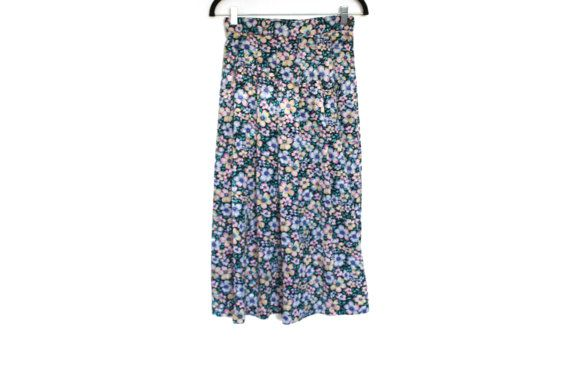 Flower Child Vintage Skirt  Long Pleated by InfinityAmpersand
