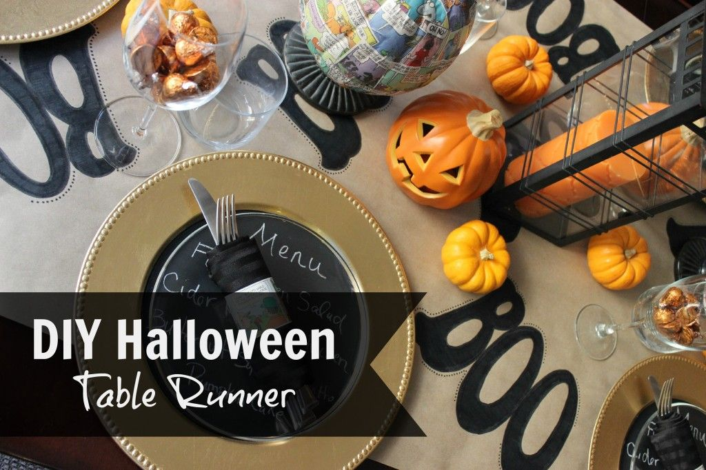 DIY Halloween Table Runner #Halloween #Halloweencrafts #Halloweenpartyideas #tablescape #Halloweentablescape