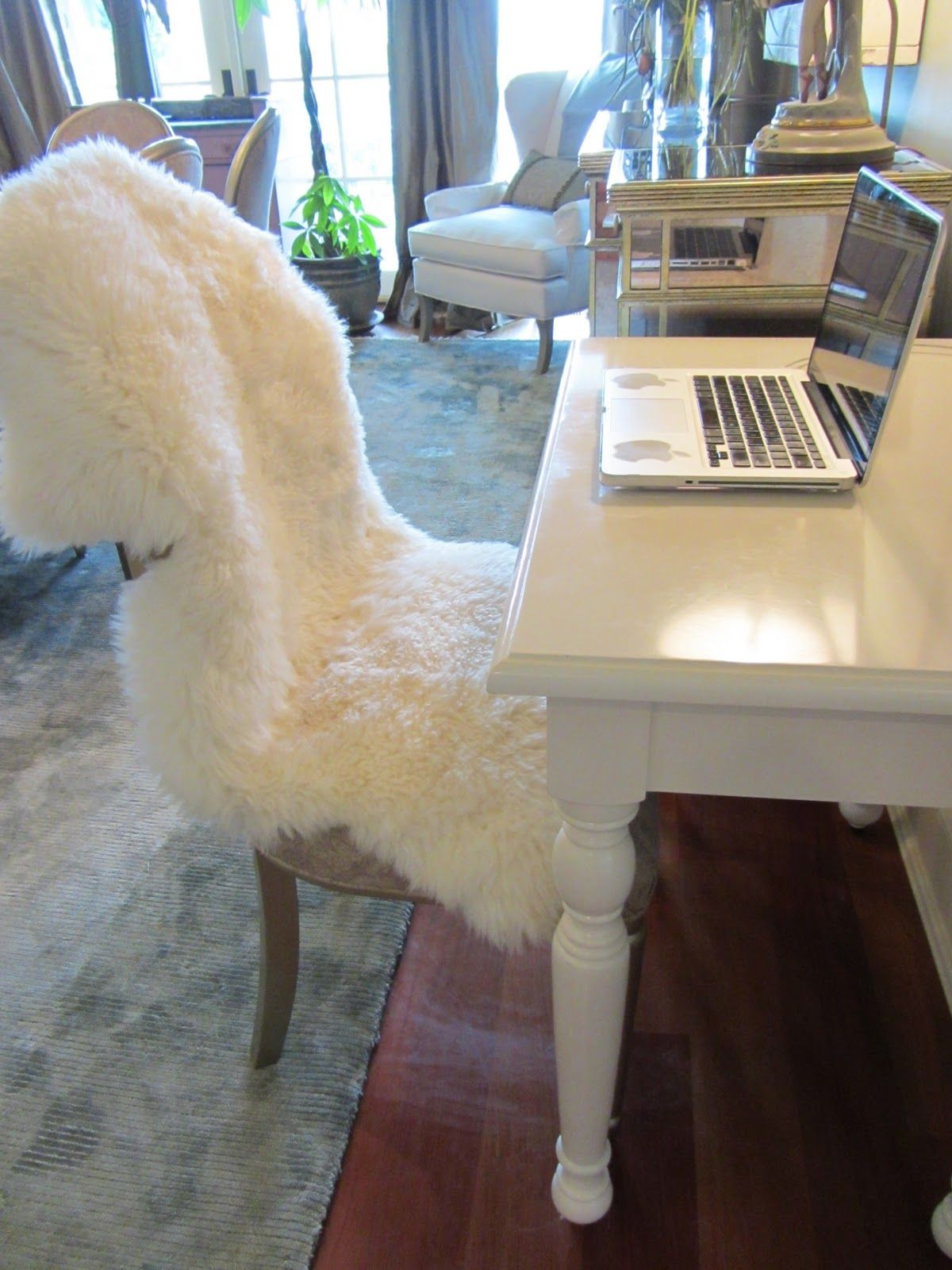 Ikea sheepskin throw rug for over the rocking chair for Lambskin rug ikea
