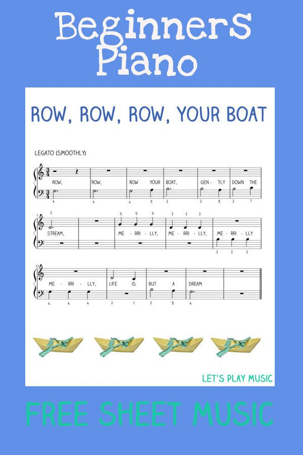 Row, Row, Row Your Boat Free Sheet Music (easy Piano for beginners)