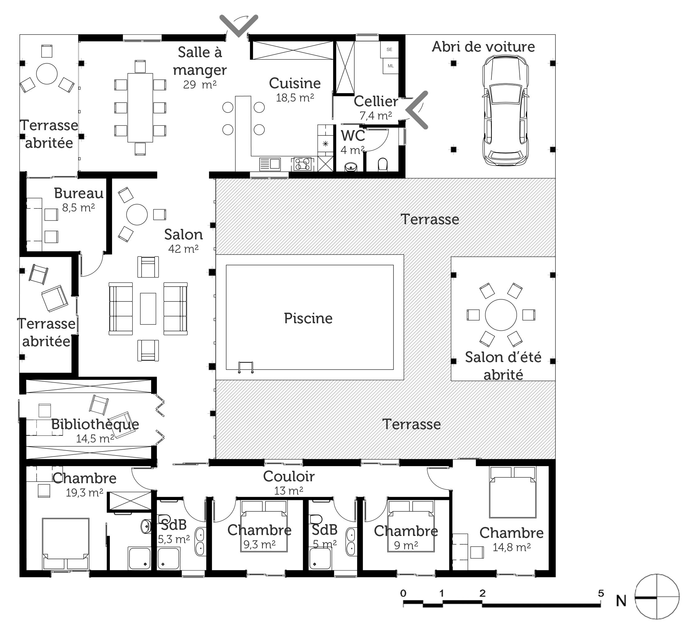 Plan Maison Moderne Avec Piscine Ooreka 15