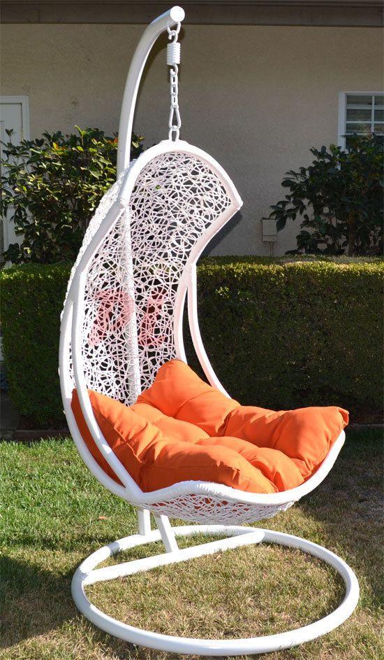 Egg Shape Wicker Rattan Swing Bed Chair Weaved Hanging Hammock  White/Orange