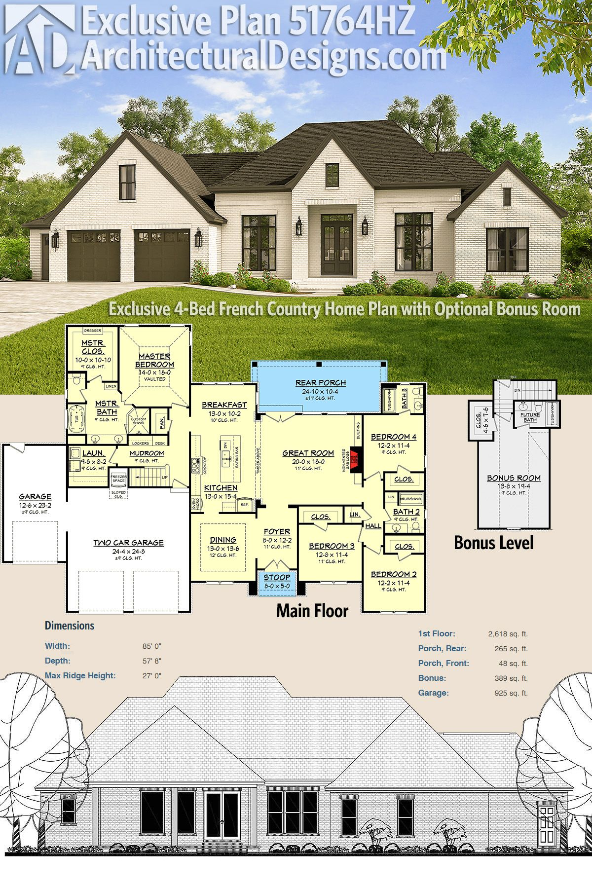 Plan 51764hz Exclusive 4 Bed French Country Home Plan With Optional Bonus Room French Country House French Country House Plans Country House Plans