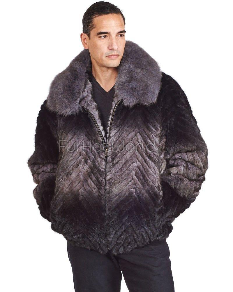 0a047a26c19c Lucas Navy Rabbit Fur Hooded Bomber Jacket for Men   Men's fur coats/jackets    Hooded bomber jacket, Rabbit fur jacket, Bomber jacket