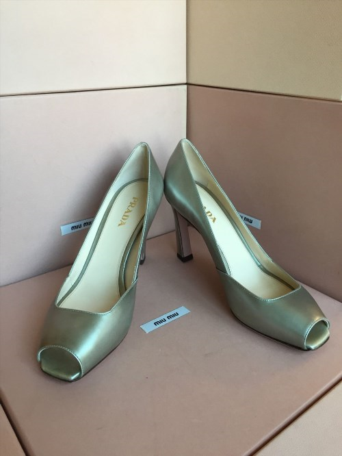 314.99$  Watch now - http://viakq.justgood.pw/vig/item.php?t=kfp5vld25613 - New PRADA Gray Metallic Open Toe High Heels Size 39.5 9.5 Women's Shoes S1