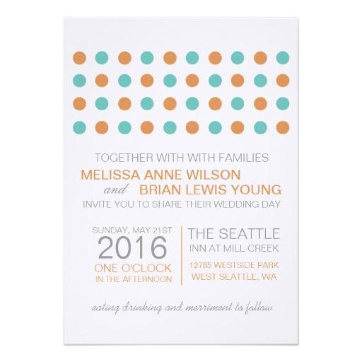 Modern Dots Wedding Orange and Teal Custom Invites