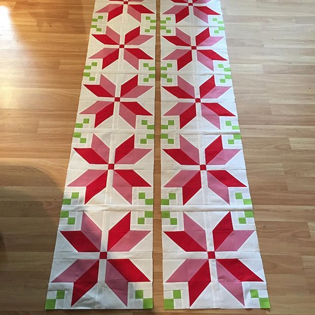 Just got my poinsettia blocks done and pieced together! #fairislequilt