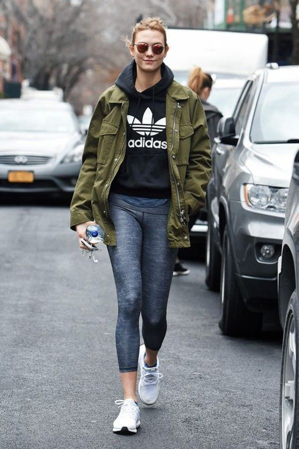 jacket sweater workout white shoes karlie kloss celeb workout looks  leggings grey leggings adidas adidas shoes