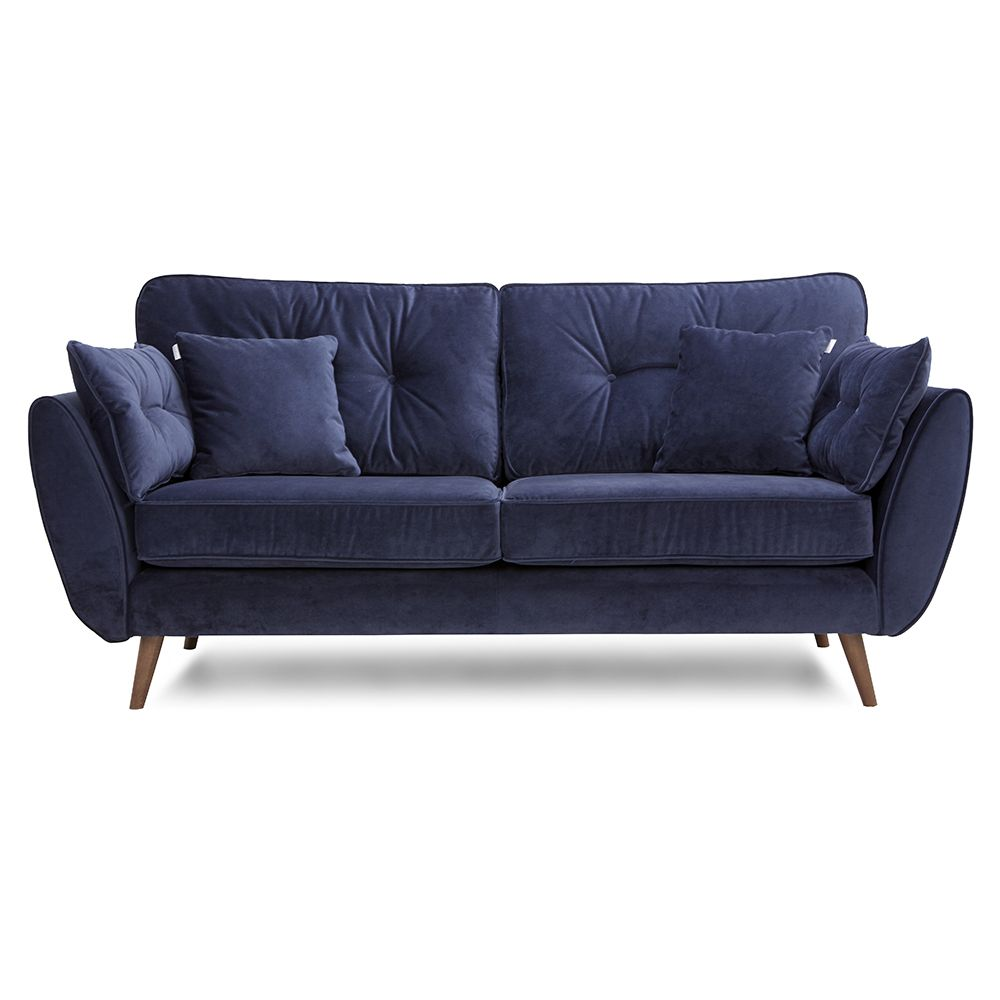 DFS Zinc Sofa In Navy Velvet