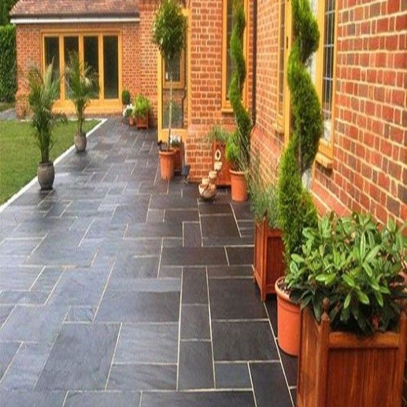 Image result for red brick house with paver patio | Slate ... on Red Paver Patio Ideas id=54731