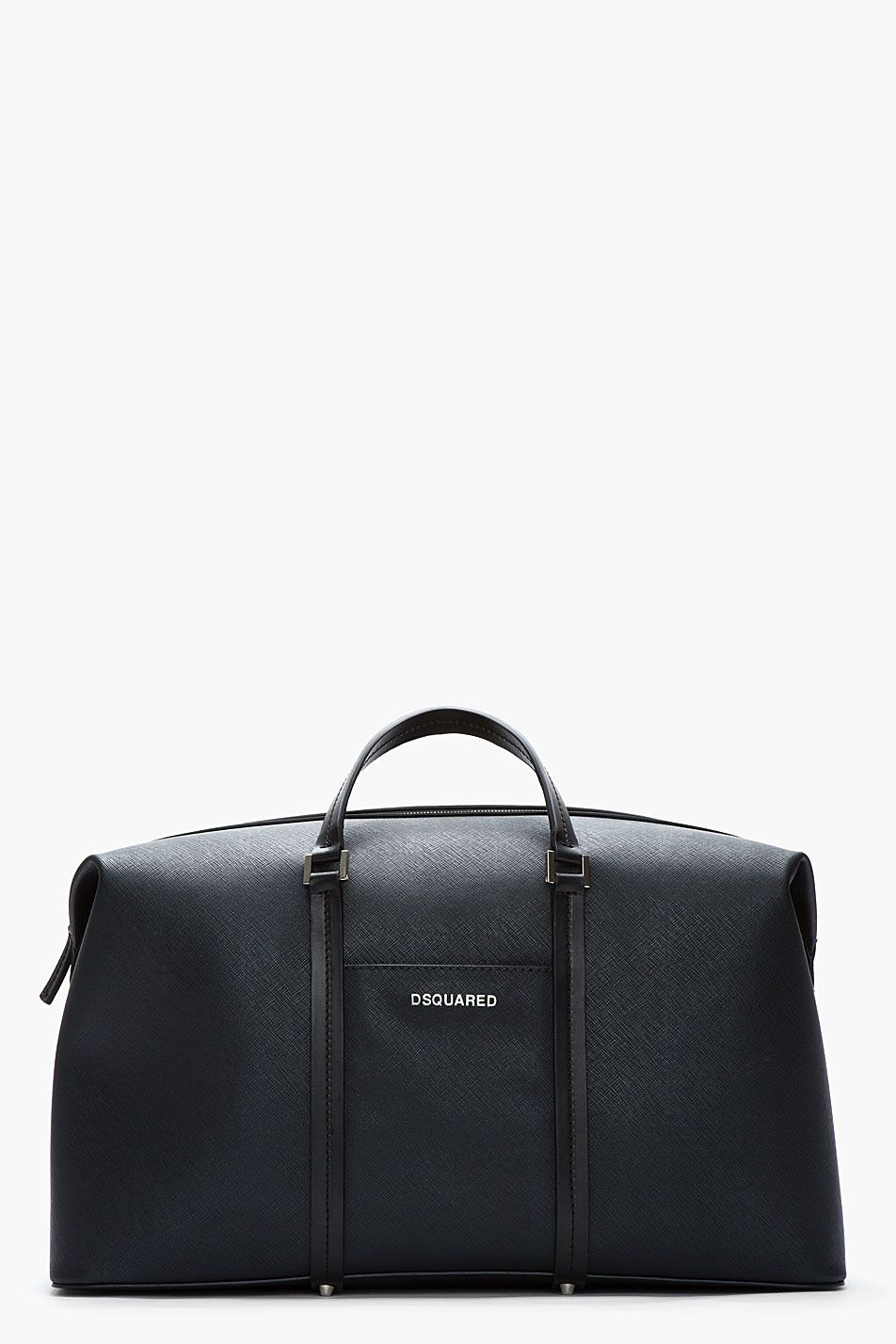 564a0cbe0be2 DSQUARED2 Black Patent Grained Structured Dante Duffle Bag