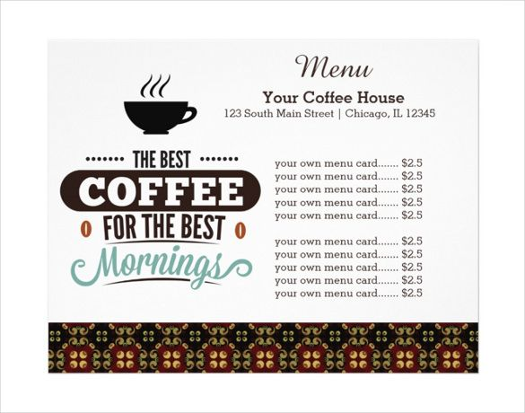 Image result for coffee menu template Coffee Shop Pinterest - microsoft word menu templates