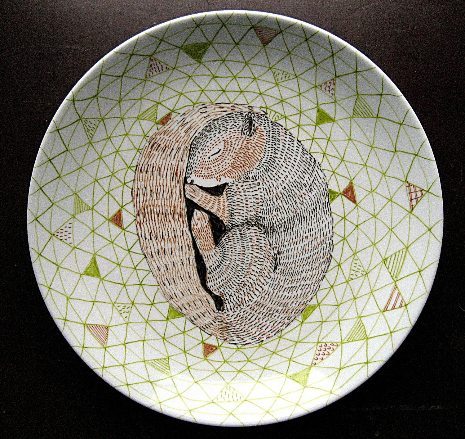 Sleeping Squirrel Woodland Geometric Design Decorative Plate Hand Illustrated Porcelain 65 00 Via Etsy Hand Illustration Ceramic Painting Squirrel