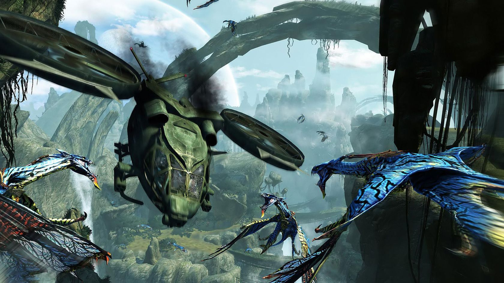 Dragons and helicopters fighting Avatar HD