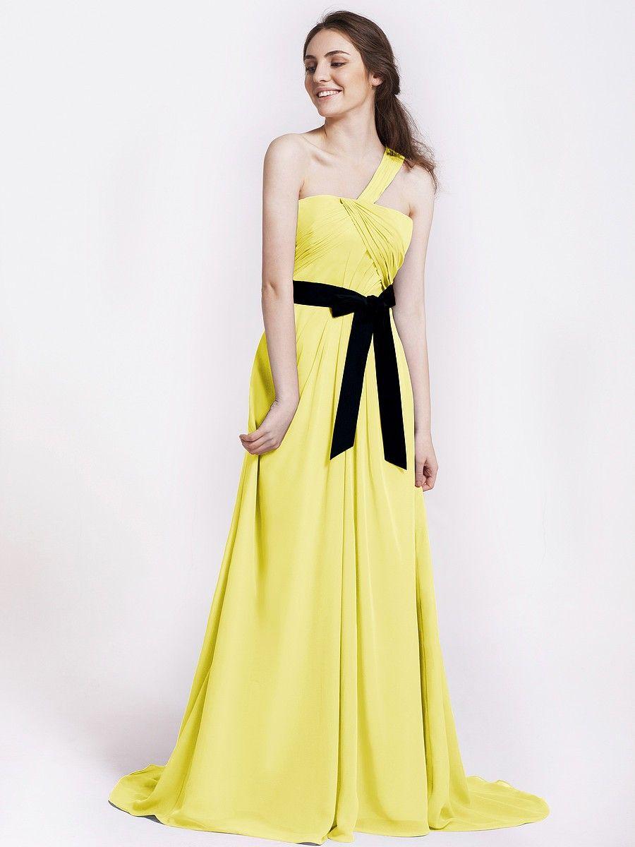 Tender Yellow Drape Bridesmaid Dress with Velvet Belt TOPF163 Regular Price: $155.00 Special Price: $116.00