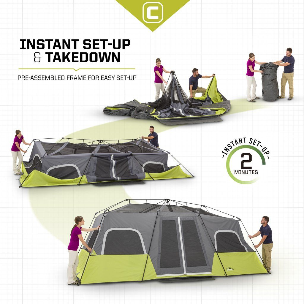 Features - Product Overview - Instant 2 minute setup - Sleeps 12 people - Fits  sc 1 st  Pinterest & 12 Person Instant Cabin Tent 18u0027 x 10u0027 | Cabin tent Air mattress ...