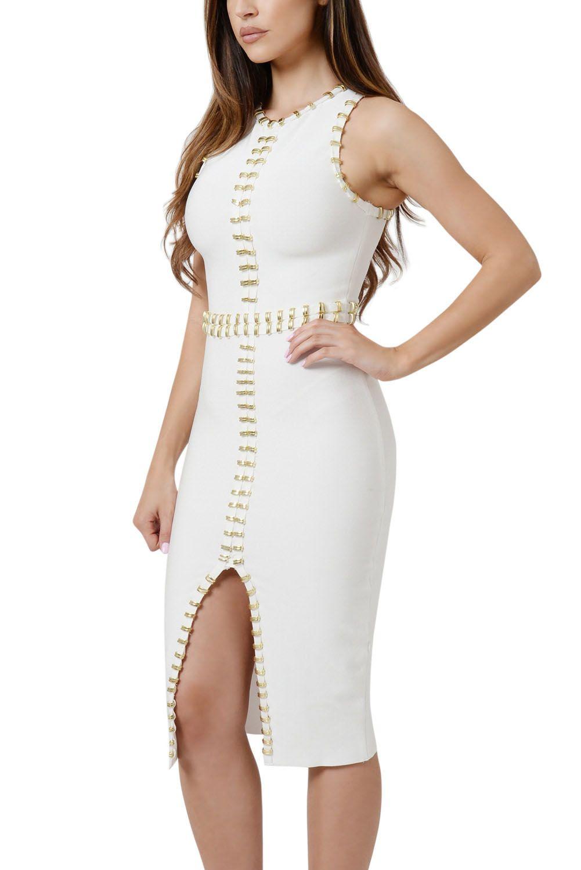 Gold White Embellished Detail Metal Bandage Dress
