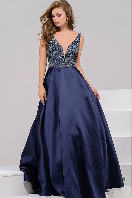 Vestido jovani azul marinho