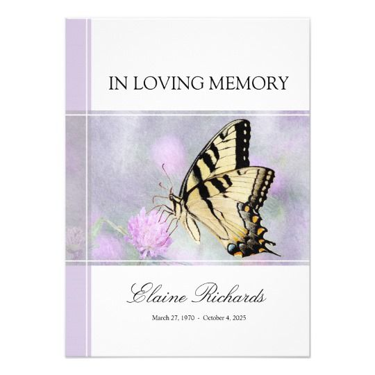 Pastel Butterfly Memorial Or Funeral Invitation Memorial - invitation for funeral ceremony