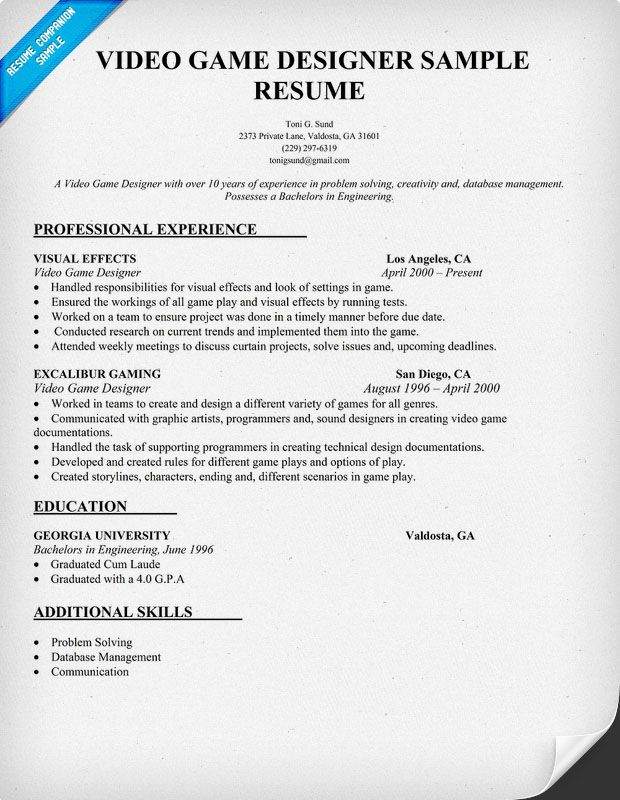 Video Game Designer Resume Objective